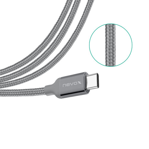Nevox USB-Type C Datenkabel 1m Nylon Silbergrau